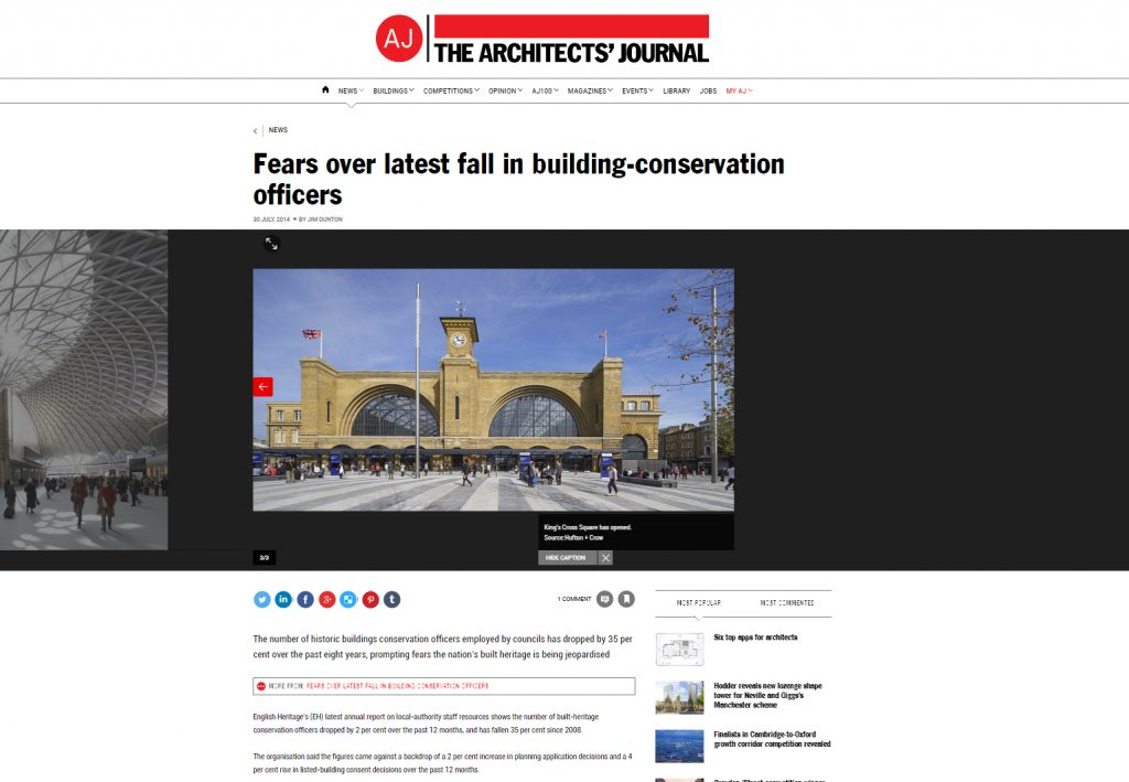 AJ reports fears over latest fall in building conservation officers