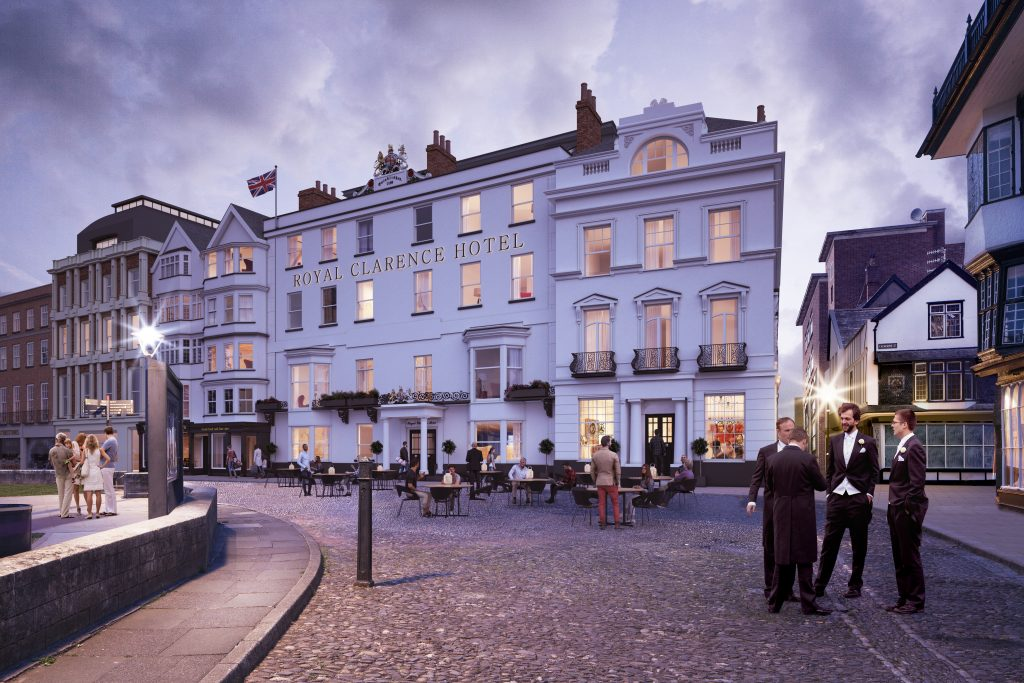 CGI image of the restored Royal Clarence Hotel, a project by Buttress Architects