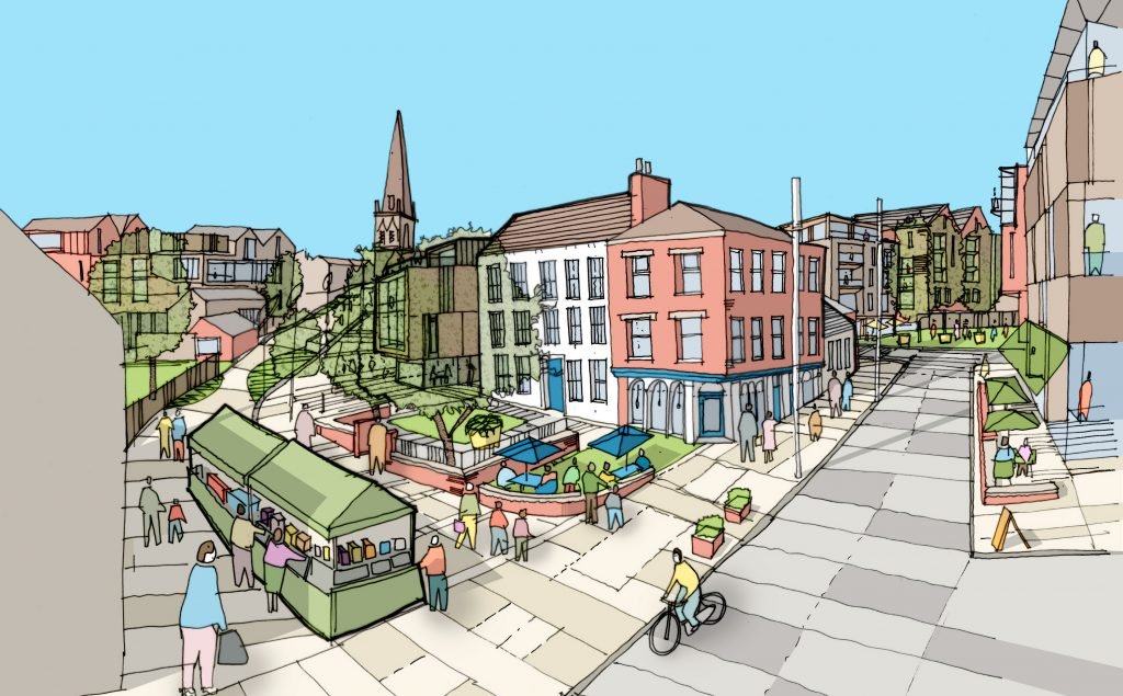 Sketch image of Stoneygate Masterplan, designed by Buttress Architects