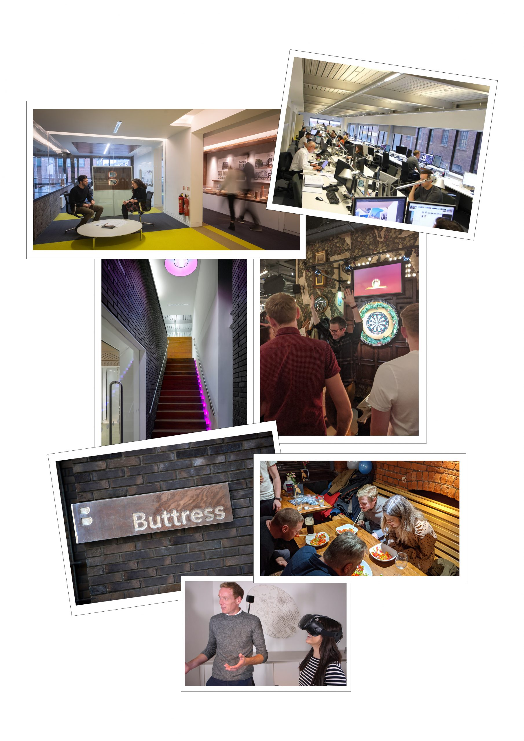 Collage of photos showing the life and culture of working at Buttress Architects